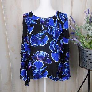 Nicole Miller Black Floral Silk Blouse